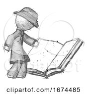 Poster, Art Print Of Sketch Detective Man Reading Big Book While Standing Beside It