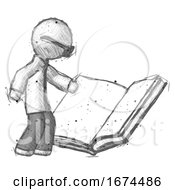 Poster, Art Print Of Sketch Doctor Scientist Man Reading Big Book While Standing Beside It
