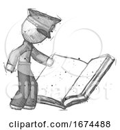 Poster, Art Print Of Sketch Police Man Reading Big Book While Standing Beside It