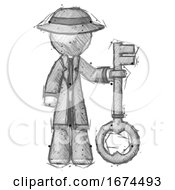 Sketch Detective Man Holding Key Made Of Gold