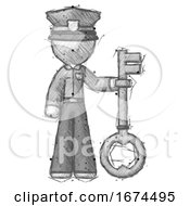 Sketch Police Man Holding Key Made Of Gold