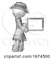 Sketch Detective Man Show Tablet Device Computer To Viewer Blank Area