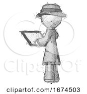 Sketch Detective Man Looking At Tablet Device Computer With Back To Viewer