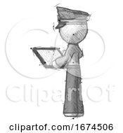 Sketch Police Man Looking At Tablet Device Computer With Back To Viewer