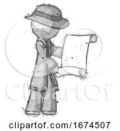 Sketch Detective Man Holding Blueprints Or Scroll