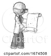 Sketch Doctor Scientist Man Holding Blueprints Or Scroll