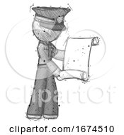 Sketch Police Man Holding Blueprints Or Scroll