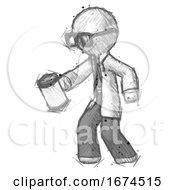 Sketch Doctor Scientist Man Begger Holding Can Begging Or Asking For Charity Facing Left