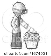 Sketch Doctor Scientist Man With Giant Cupcake Dessert