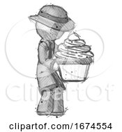 Sketch Detective Man Holding Large Cupcake Ready To Eat Or Serve