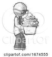 Sketch Doctor Scientist Man Holding Large Cupcake Ready To Eat Or Serve