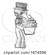 Sketch Plague Doctor Man Holding Large Cupcake Ready To Eat Or Serve