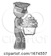 Sketch Police Man Holding Large Cupcake Ready To Eat Or Serve