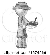Sketch Detective Man Holding Noodles Offering To Viewer