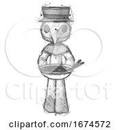 Sketch Plague Doctor Man Serving Or Presenting Noodles