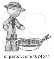 Sketch Detective Man And Noodle Bowl Giant Soup Restaraunt Concept