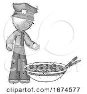 Sketch Police Man And Noodle Bowl Giant Soup Restaraunt Concept