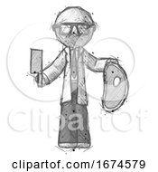 Poster, Art Print Of Sketch Doctor Scientist Man Holding Large Steak With Butcher Knife