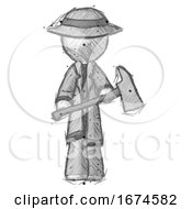 Sketch Detective Man Holding Fire FighterS Ax