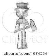 Sketch Plague Doctor Man Holding Fire FighterS Ax