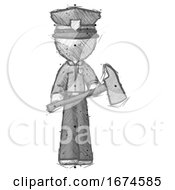 Sketch Police Man Holding Fire FighterS Ax