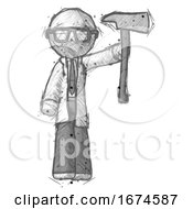 Sketch Doctor Scientist Man Holding Up FirefighterS Ax