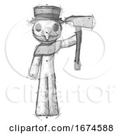 Sketch Plague Doctor Man Holding Up FirefighterS Ax