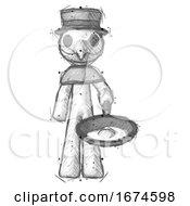 Poster, Art Print Of Sketch Plague Doctor Man Frying Egg In Pan Or Wok