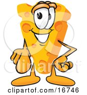 Wedge Of Orange Swiss Cheese Mascot Cartoon Character Pointing Outwards At The Viewer