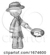 Poster, Art Print Of Sketch Detective Man Frying Egg In Pan Or Wok Facing Right