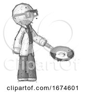 Poster, Art Print Of Sketch Doctor Scientist Man Frying Egg In Pan Or Wok Facing Right