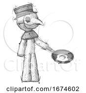 Sketch Plague Doctor Man Frying Egg In Pan Or Wok Facing Right