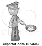 Sketch Police Man Frying Egg In Pan Or Wok Facing Right