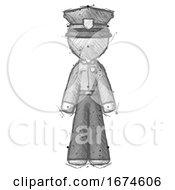 Sketch Police Man Standing Facing Forward