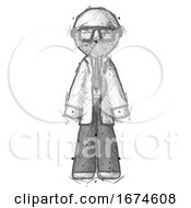Sketch Doctor Scientist Man Standing Facing Forward