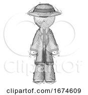 Sketch Detective Man Standing Facing Forward