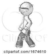 Sketch Doctor Scientist Man Walking Left Side View