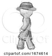 Sketch Detective Man Walking Away Direction Left View