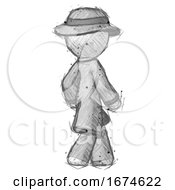 Sketch Detective Man Walking Away Direction Right View