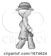 Sketch Detective Man Walking Right Side View