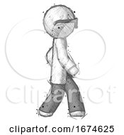 Sketch Doctor Scientist Man Walking Right Side View