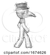 Sketch Plague Doctor Man Walking Right Side View
