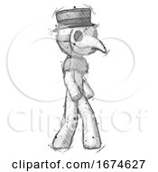 Sketch Plague Doctor Man Walking Turned Right Front View