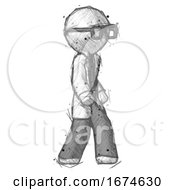 Sketch Doctor Scientist Man Walking Turned Right Front View