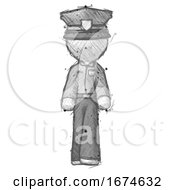 Sketch Police Man Walking Front View