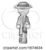 Sketch Detective Man Walking Front View