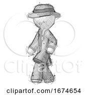 Sketch Detective Man Man Walking Turned Left Front View