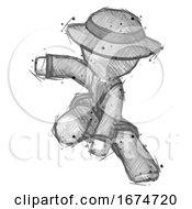 Sketch Detective Man Action Hero Jump Pose