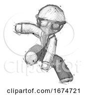 Sketch Doctor Scientist Man Action Hero Jump Pose