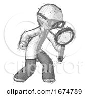Sketch Doctor Scientist Man Inspecting With Large Magnifying Glass Right